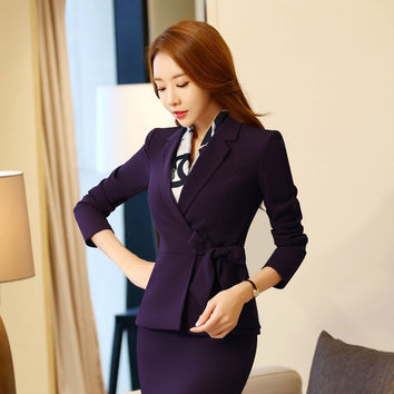 2Pieces Women High Quality Office Mini Skirt female business suit working clothes office wear uniforms Plus size