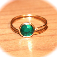 Emerald Green Rhinestone Wire Wrapped Ring, Sterling Silver Wire Wrapped Rings, Green Jewelry, Gold Rings, Green Ring