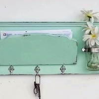 Sea Glass...Mail Holder and Organizer Key Hooks  Mason Jar Shelf ..