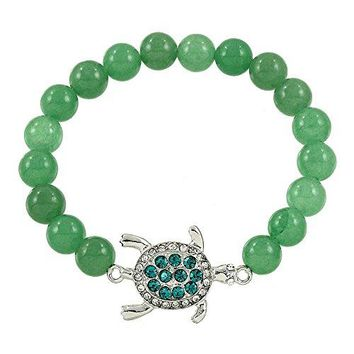 DianaL Boutique Sea Turtle Elastic Bracelet Genuine Green Aventurine Gemstone Crystal Turtle Charm Gift Boxed Fashion Jewelry for Women Teens Girls