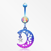 Blurple Fligree Moon with Star Sparkle Belly Button Ring