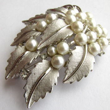 Crown Trifari Brooch Silver Tone and Faux Pearl Vintage 1950s