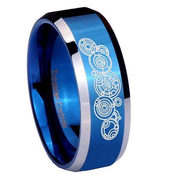 10mm Doctor Who Beveled Edges Blue 2 Tone Tungsten Carbide Men's Ring