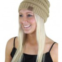 Knit Taupe Winter Beanie - B79