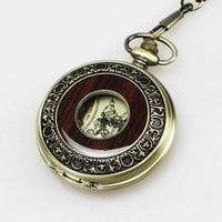 Bronze and Wood Antique Style Steampunk Skeleton Pocket Watch