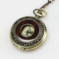 ON SALE - Bronze and Wood Antique Style Steampunk Skeleton Pocket Watch