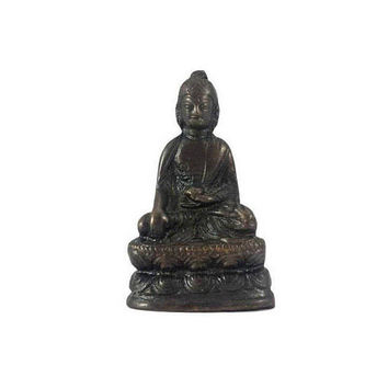 Medicine Buddha Statue Vintage Small Supreme Healer Figurine Tibetan Temple Shrine Portable Travel Alter Meditation Spiritual Home Decor 2""