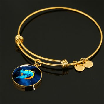 Zodiac Sign Cancer - 18k Gold Finished Bangle Bracelet