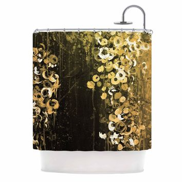 "Ebi Emporium ""THE DARK GARDEN 1"" Gold Black Abstract Floral Painting Mixed Media Shower Curtain"