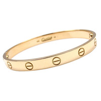 Cartier Love Yellow Gold Bangle Bracelet Size 17