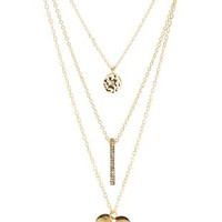 Gold Disk, Bar & Heart Layered Necklace by Charlotte Russe