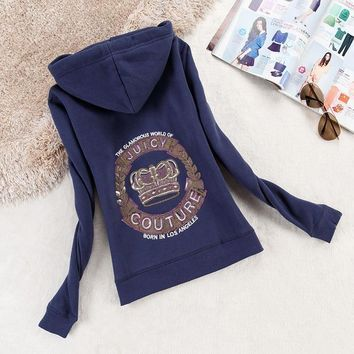 Juicy Couture Logo Crown Velour Jacket 2198 Women Hoody Navy Blue - Ready Stock