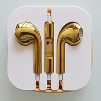 GOLD - 3.5mm Generic Altec One Earphone Earbuds Headset HeadPhone w/ MIC & Vol Contrl FOR iPhone 5 5S 4G 4S /iPod/iPad (GOLD)
