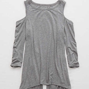 Aerie Cold Shoulder Tunic Top, Dark Heather