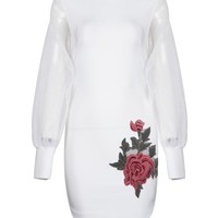 Honey Couture RAE White Mesh Long Sleeve w Floral Mini Bandage Dress