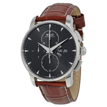 Mido Baroncelli Automatic Chronograph Black Dial Brown Leather Mens Watch