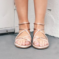 Rosemary Strappy Satin Rose Nude Sandals