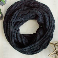 Black Cable Knit Infinity Scarf