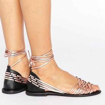 ASOS JOSHUA Leather Tie Leg Summer Shoes at asos.com