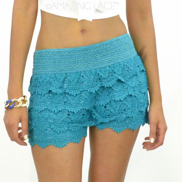 SZ LARGE Daytona Nights Teal Lace Ruffle Shorts