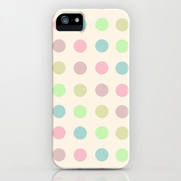 Colorful Polka iPhone Case - pink blue yellow green pastel multicolor white background apple phone accessory hard plastic cute girly pretty