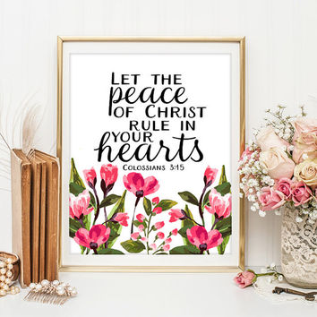 Bible Verse Art  Scripture wall art decor Colossians 3:15 scripture print wall bible verse nursery wall decor  ID117-118