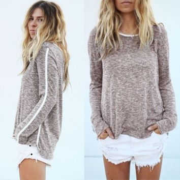 Scoop Long Sleeves Casual Striped Loose T-shirt