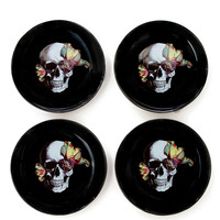 D.L. & Co. Blooming Skull Plates (Set Of 4) - Black