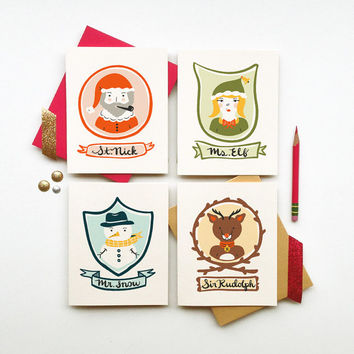 North Pole VIP holiday stationery set of 4 cards santa elf reindeer rudolph snowman illustration calligraphy typography christmas green red