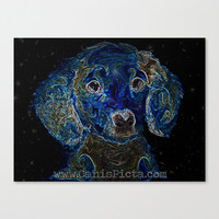 "Dachshund ""Galaxy Quest"" 10x8 Pop Art Print Photograph Dog Puppy Abstract Modern Nerd Star Starry Galaxy Blue Periwinkle Celestial Cosmic"