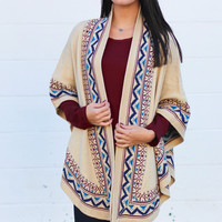 Oversized Geometric Knit Cardigan {Natural}