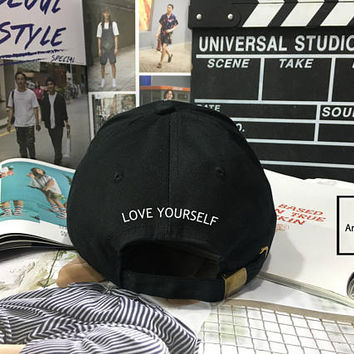 LOVE YOURSELF Dad Hat - Baseball Cap, Tumblr hat ,Strap Back Baseball Hat Baseball Cap , Low-Profile Baseball Cap Hat