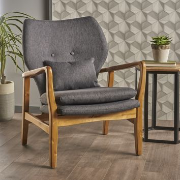 Helena Mid Century Modern Fabric Club Chair