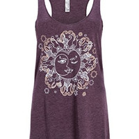 Vintage Purple Sun & Moon Yoga Loose Fit Tank Top T-Shirt