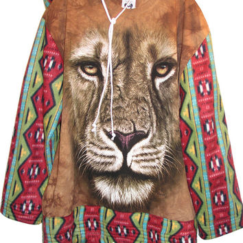 Navajo Lion Fleece Oversize Hooded Sweatshirt