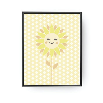Sunflower Yellow, School Room Decor, Nursery Decor, Flower Art, Kids Print, Cute Plant Print, Kids Room Decor, Children Learning, Kids Art