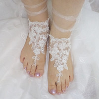 beach shoes, bridal sandals, beaded lariat sandals, wedding bridal, barefoot sandles, white accessories, wedding shoes, summer wear