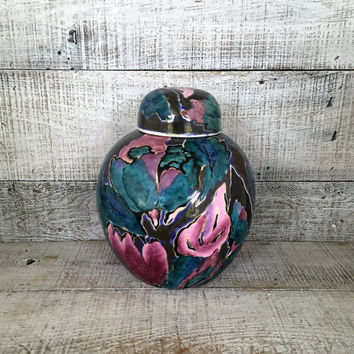 Ginger Jar Vintage Ceramic Urn Hand Painted Lidded Ginger Jar Ceramic Vase Asian Urn Chinese Porcelain Hand Painted Floral Design Ginger Jar
