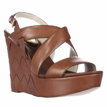 MICHAEL Michael Kors Bennet Woven Wedge Sandals - Luggage
