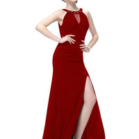 Red Halter Mesh Cut Out Maxi Dress with High Slit
