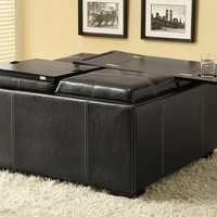 A.M.B. Furniture & Design :: Living room furniture :: Ottomans & Footstools :: Black durable leather like vinyl storage ottoman with 4 flip top seats with trays and hard surface top with cup holders