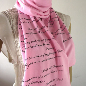 JANE AUSTEN Quotes Scarf Handprinted Scarf PINK -Pride and Prejudice and more quotes - Literary Text Scarf Book Lovers Scarf