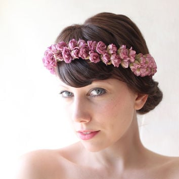 Bridal hair crown, Flower crown, Purple bridal accessory, Floral headpiece, flower wreath - PLUM