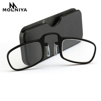 2018 NEW Design Clip Reading Glasses Men Women Mini Ultralight SOS Wallet Older Optics With Box Oculos De Grau Folding Glasse