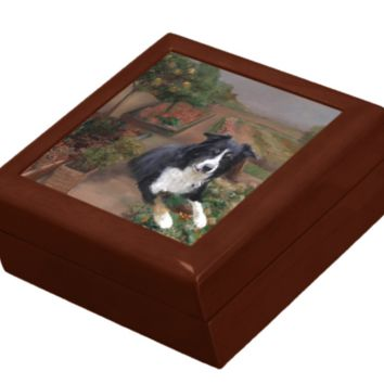 Keepsake/Jewelry Box - Border Collie Dog - Lacquer Wood Box