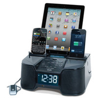 The Six Device Charging Clock Radio - Hammacher Schlemmer