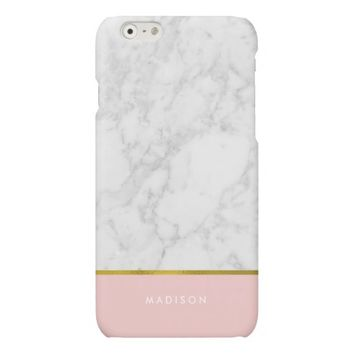 Pink Marble Pattern and Faux Gold Foil Matte iPhone 6 Case