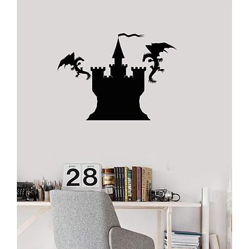 Vinyl Wall Decal Castle Flying Dragons Fantasy Art Child Room Decor Stickers Mural (ig5334)
