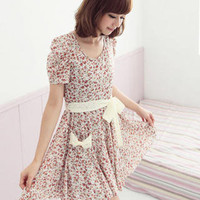 YESSTYLE: CatWorld- Short-Sleeve Tie-Waist Floral Dress (White - One Size) - Free International Shipping on orders over $150