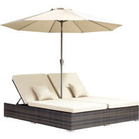 Atlantic Outdoor Double Chaise Lounge Brown